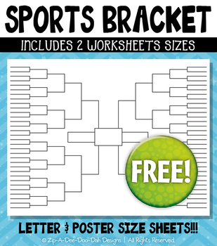 {FREE} Sports Bracket Worksheet Clipart Set (2 Sheets)