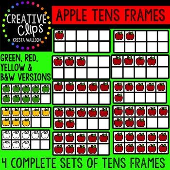 Apple Tens Frames {Creative Clips Digital Clipart}