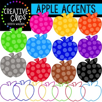 Rainbow Apple Accents {Creative Clips Digital Clipart}