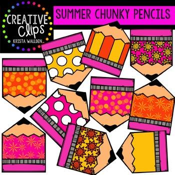 Summer Chunky Pencils {Creative Clips Digital Clipart}