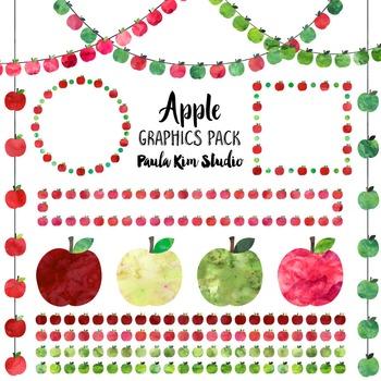 Apple Clip Art Watercolor Graphics Pack
