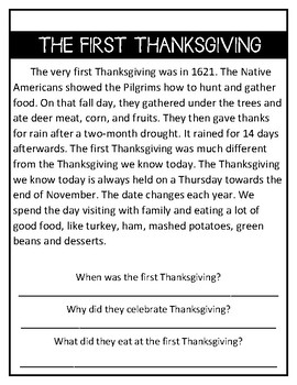 {FREE} Thanksgiving Reading Comprehension