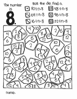 **FREE** The Number Is...DIVISION:  Find N (a roll and color game)