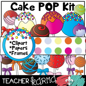 Cake Pop Kit * Clipart * Papers * Frames ** SELLER'S KIT **