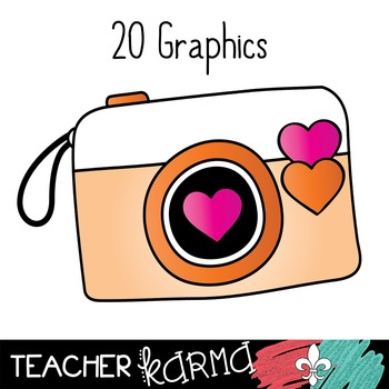 Cameras with Hearts Photography Clipart