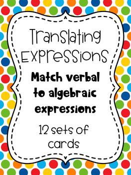 *FREE*  Translating Verbal Expressions Matching Game