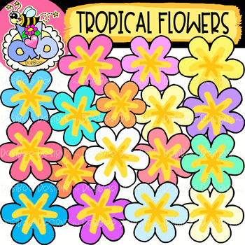 {FREE} Tropical Flowers: Summer Clipart {DobiBee Designs}