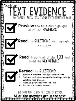 *FREE* Using Text Evidence to Answer Questions about Informational Text