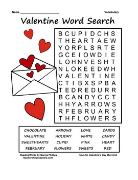 ~ FREE ~  Valentine Word Search