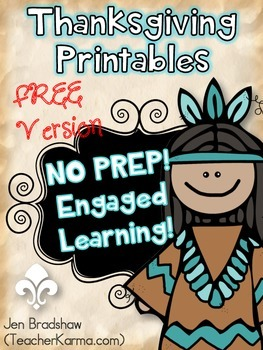 Thanksgiving Printables Mini Set ~ NO PREP!  Reading Comprehension