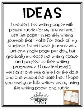 {FREE} Primary Writing Journal Paper with Picture Rubric for Beginning Writers