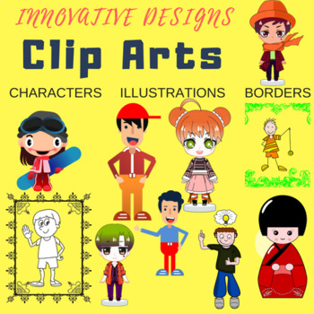 """FREE"" clip arts for TEACHERS. 10 boy+ 10 girl+ 10 borders"