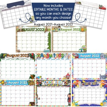 Editable 2017-2018 Classroom Calendars August 2017- July 2018