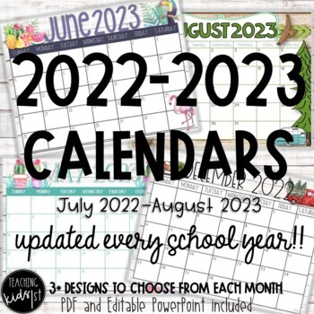 Editable 2018-2019 Classroom Calendars August 2018- July 2019