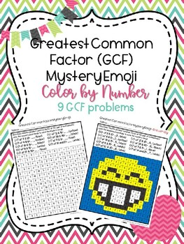 Least Common Multiple (LCM) Mystery Emoji Picture/Color by Number