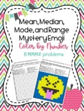 Mean, Median, Mode, and Range Mystery Emoji/Color by Number