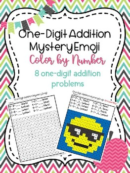 One-Digit Addition Mystery Emoji/Color by Number Picture