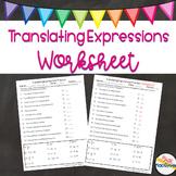 Translating Expressions Worksheet