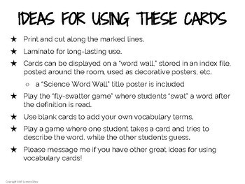 Science Word Wall (NGSS) - 5th Grade - Vocabulary Cards