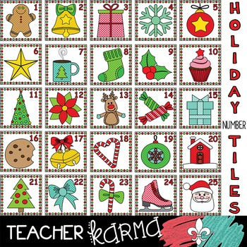 Christmas Number Tiles * Math Cards