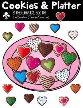 Cookies & Platter Clipart ~ Commercial Use OK ~ Hearts