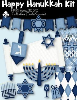 Happy Hanukkah Seller's Kit Clipart ~ Commercial Use OK
