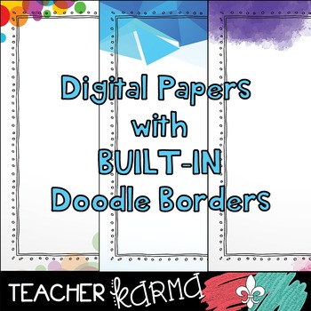 Modern Digital Papers with BUILT-IN Doodle Borders