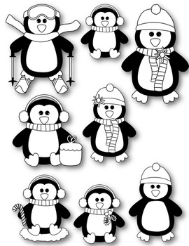 Penguin Pals Clipart ~ Commercial Use OK ~ Winter