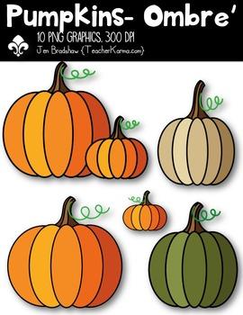 Pumpkins - Ombre' Clipart ~ Commercial Use OK -Autumn