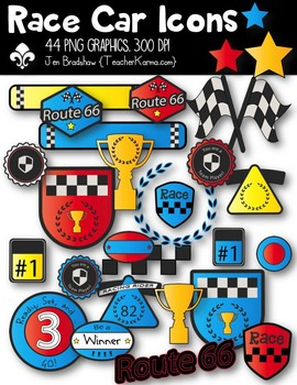 Race Car Racing Icons Clipart ~ Commercial Use OK