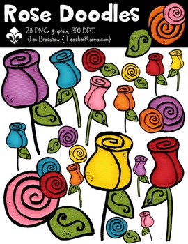 Rose Doodles Clipart ~ Commercial Use OK ~ Flowers