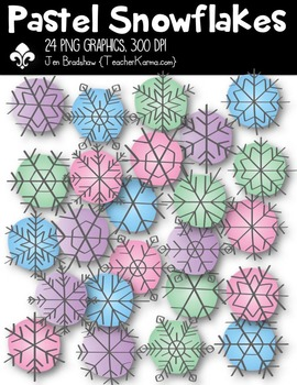 Snowflakes PASTEL Clipart ~ Commercial Use OK ~ Winter