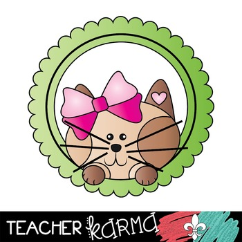 Valentine Frame Friends Clipart ~ Hearts ~ Cat ~ Dog