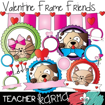 Valentine Frames with Animal Friends