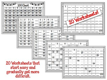 100 Chart. Counting. Preschool. 1 to 100. Worksheets.