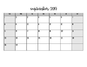 picture regarding School Calendar -16 Printable identified as FREEBIE* 2019-2020 Horizontal Higher education Calendar Printable via
