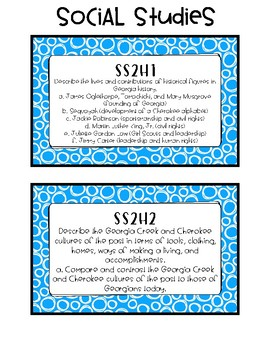 2nd Grade Standards Cards for Social Studies (Georgia Common Core)