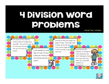 Single Step Division Word Problems VA SOL 4th and 5th