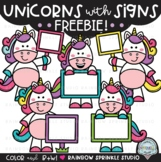 {FREEBIE #4!} Unicorns with Signs Clipart!