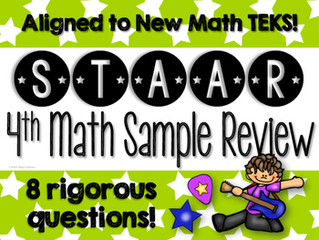{FREEBIE} 4th Math STAAR Test Prep Review Sampler (Aligned to new TEKS!)