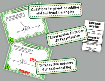 Adding & Subtracting Angles Digital Task Cards for Use w/ Google Apps