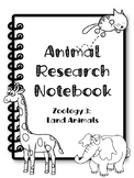 {FREEBIE} Animal Research Notebook Cover. Zoology 3: Land Animals