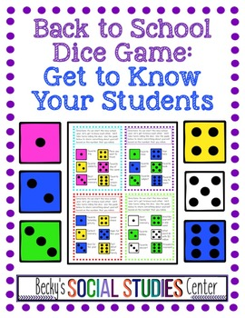 Back to School: Dice Game Activity