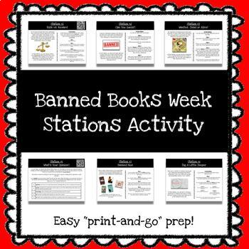 *FREEBIE* Banned Books Week Stations Activity *Print & Go Prep*