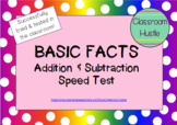 **FREEBIE** Basic Facts Addition Subtraction Speed Test