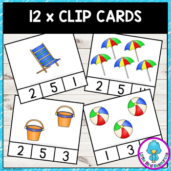 *FREEBIE* Beach Themed Counting Clip Cards & Worksheets Sample Set 1 - 5