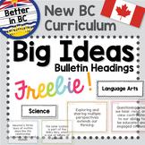 Big Ideas - Bulletin Headings (Gr K-7) - New BC Curriculum