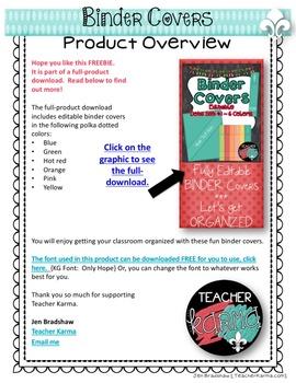 Binder Covers ~ Editable  ~ Organization ~ MINI DOWNLOAD Dots Set #1