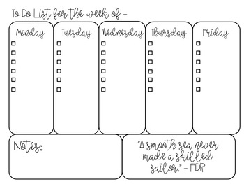 *FREEBIE* Black and White Editable Weekly To Do Lists