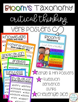 **FREEBIE** Bloom's Taxonomy Critical Thinking Verb Posters + Question Strips by The Kinder Life